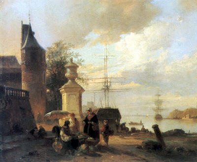 Figures At A Market Stall By A Harbour