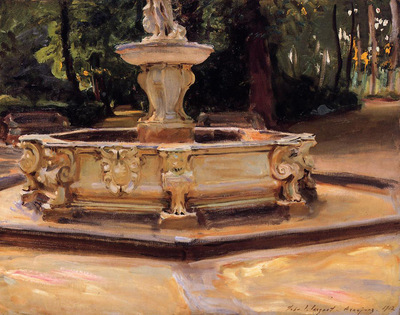 Sargent John Singer A Marble fountain at Aranjuez Spain