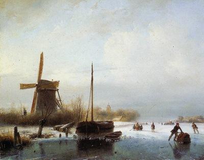 Schelfhout Andreas Boat in frozen canal Sun