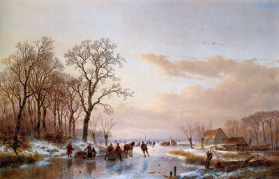 Schelfhout Andreas Frozen canal near the Maas Sun