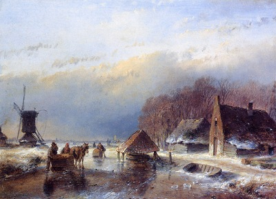 Schelfhout Andreas Men with towing sledge Sun