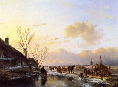 Schelfhout Andreas People on frozen river Sun