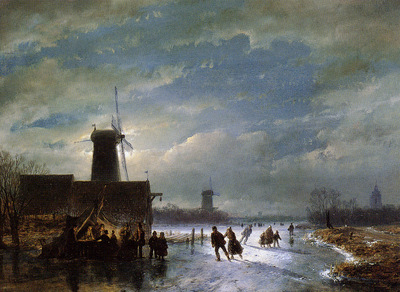 Schelfhout Andreas Scaters on moonlit river Sun