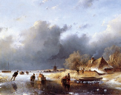 Schelfhout Andreas Scaters on river near farm Sun