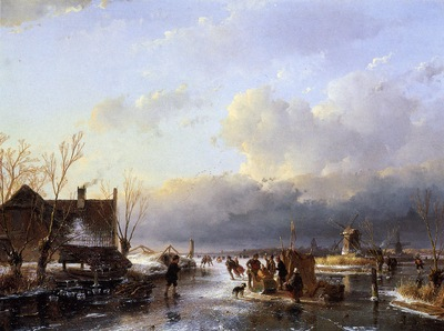 schelfhout andreas scaters on river near saw mill sun
