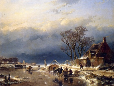 schelfhout andreas scaters with sledges sun