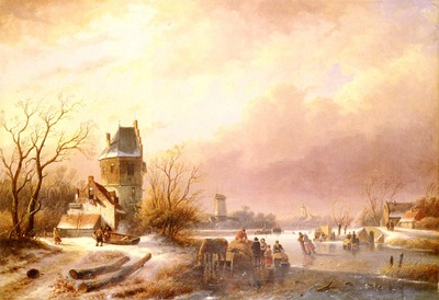 Schelfhout Andreas Skaters On A Frozen River