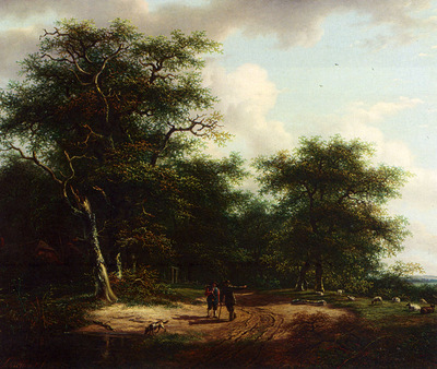 Schelfhout Andreas Two Figures In A Summer Landscape
