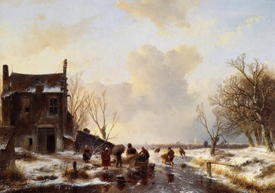 Schelfhout Andreas Winter landscape T Sun