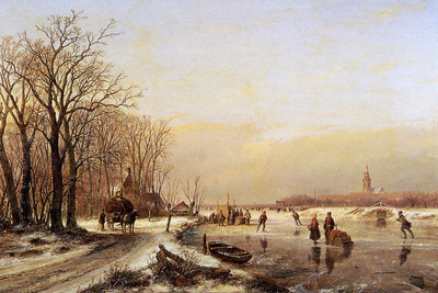 Schelfhout Andreas Winter landscape with scaters Sun