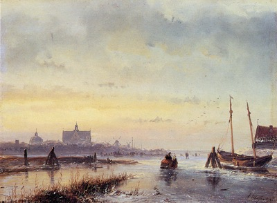 Schelfhout Andreas Winter scene at Leiden Sun