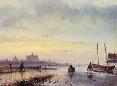 Schelfhout Andreas Winter scene at Leiden Sun