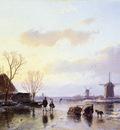 Schelfhout Andreas Mills along frozen canal Sun