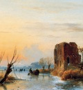 Schelfhout Andreas Ruin in winter landscape Sun