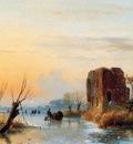 Schelfhout Andreas Ruin in winter landscape Sun