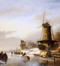 Schelfhout Andreas Scaters frozen river mill Sun