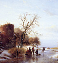 schelfhout andreas scaters on frozen river 2 sun
