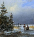 Schelfhout Andreas Scaters on frozen river 3 Sun