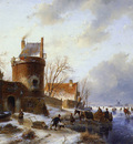 Schelfhout Andreas Scaters on frozen river Sun