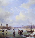 schelfhout andreas scaters on frozen river with mill sun