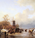 schelfhout andreas scaters river with mill sun