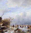 Schelfhout Andreas Winter landscape Delft Sun