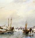 Schelfhout Andreas Winter view with ice boat Sun