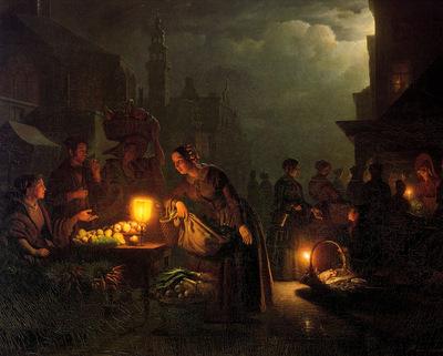 Schendel van Petrus Marketscene by candlelight Sun