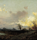 Schindler Emil Jakob An extensive landscape in evening twilight