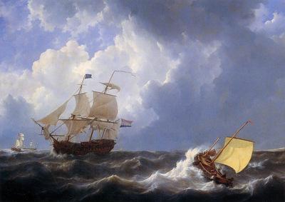Schotel Johannes Christiaan Ship on choppy sea Sun