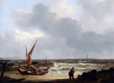 Schotel Johannes Christiaen Sailing ship on the beach Sun