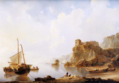 Schotel Johannes Ships moored at French coast Sun