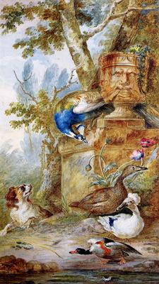 Schouman Aert Birds and a dog in park Sun