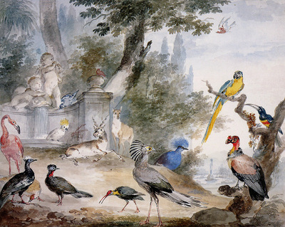 Schouman Aert Birds at a fountain Sun
