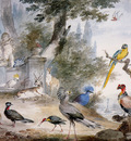 Schouman Aert Birds at a fountain Sun