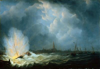 Schouman Martinus Van Speyks schip explodes Sun
