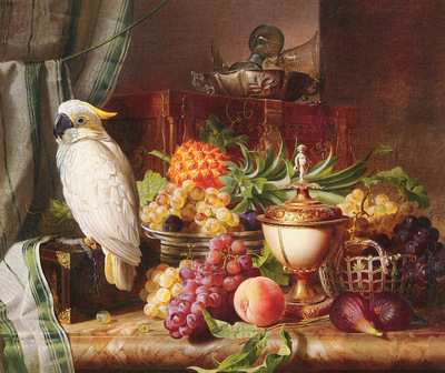 Schuster Josef STILL LIFE WITH FRUIT AND A COCKATOO