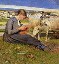 Segantini Giovanni Knitting girl Sun