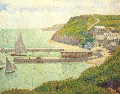 seurat port en bessin the outer harbor at high tide