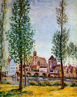 Sisley Alfred Moret sur Loing Bridge church and mill Sun