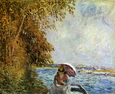 Sisley Alfred On the boat near Veneux Sun