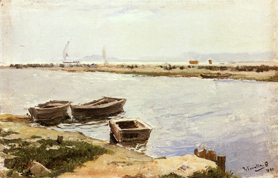 Bastida Joaquin Sorolla Y Three Boats By A Shore