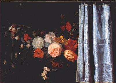 van der spelt flower still life with curtain