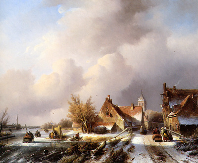 Spohler Jan Jacob Winterlandscape with frozen canal Sun