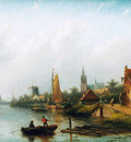 Spohler Jan Jacob City along a river Sun