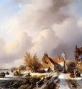 Spohler Jan Jacob Winterlandscape with frozen canal Sun