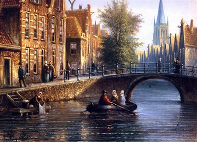 Spohler Johannes Francicus View with a bridge Sun