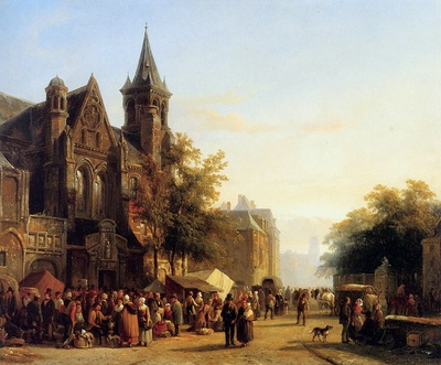 Springer Cornelis City view with figures Sun