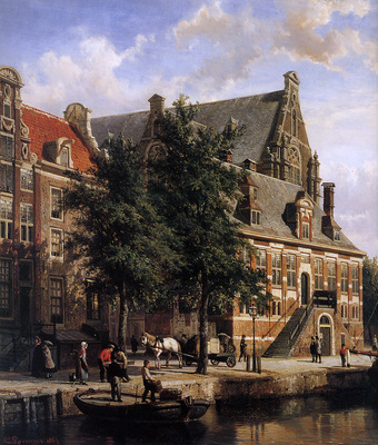 Springer Cornelis The Oude Waag at the Westerkerk Sun