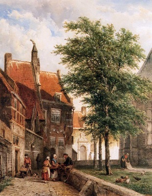 Springer Cornelis View behind the Grote Kerk in Naarden Sun